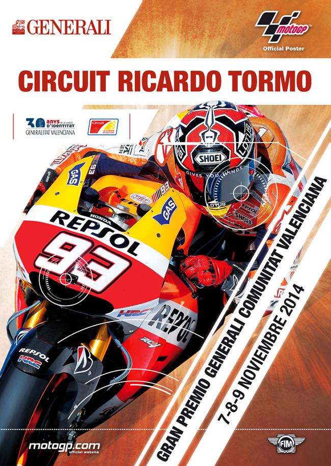 Cartel ganador del Gran Premio de Moto GP de la Comunitat Valenciana