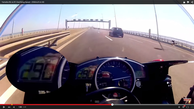 Videos de Motos - Yamaha R6 vs R1 a 290 Km