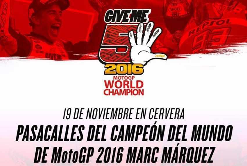 Actos en Cervera para celebrar el campeonato de Marc Marquez