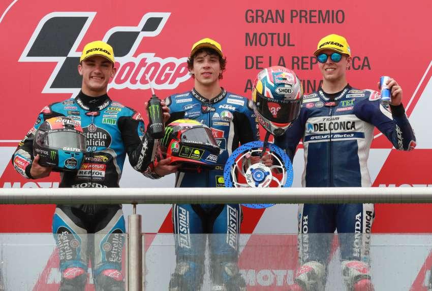 Canet, Bezzecchi y Di Giannantonio en el podio del GP de Argentina.