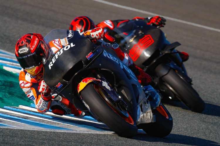 Marc Marquez y Jorge Lorenzo en los Test de MotoGP en el circuito de Jerez