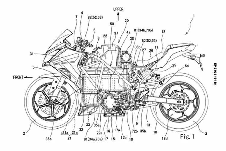Patente de Kawasaki para una moto eléctrica de batería intercambiable