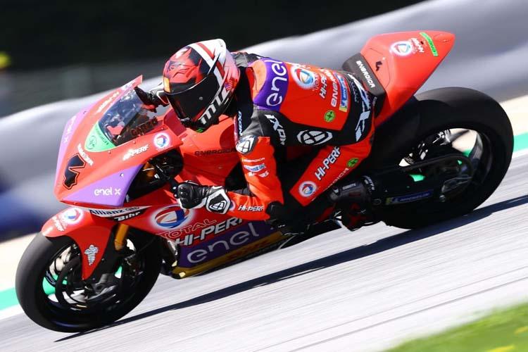 Héctor Garzó ha terminado en segunda posición en las dos carreras de MotoE en Misano.