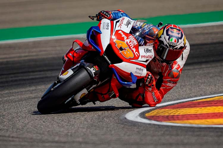 Jack Miller ha logrado superar a Maverick Viñales en la última vuelta para subir al último escalón del podio en Aragón.