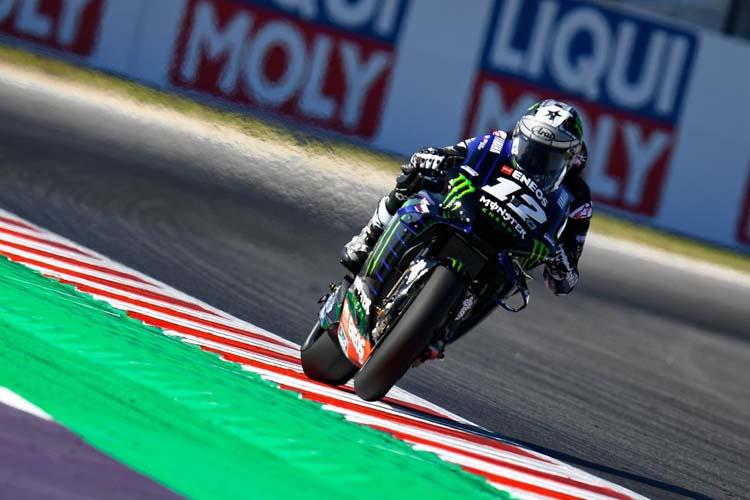Maverick Viñales cierra la primera jornada del GP de San Marino con el tiempo más rápido.